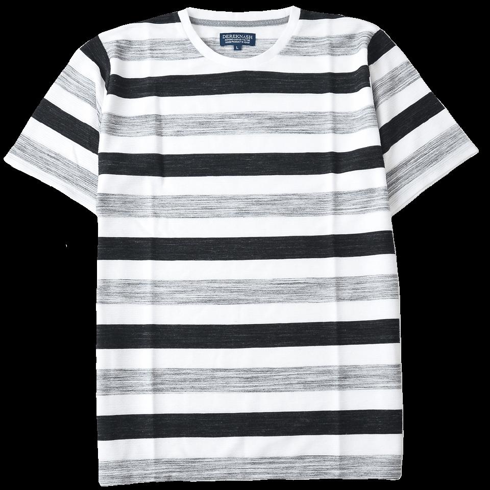 半袖Tシャツ スペースボーダーT クルーネック 涼感素材 ジャガード織り 485-421