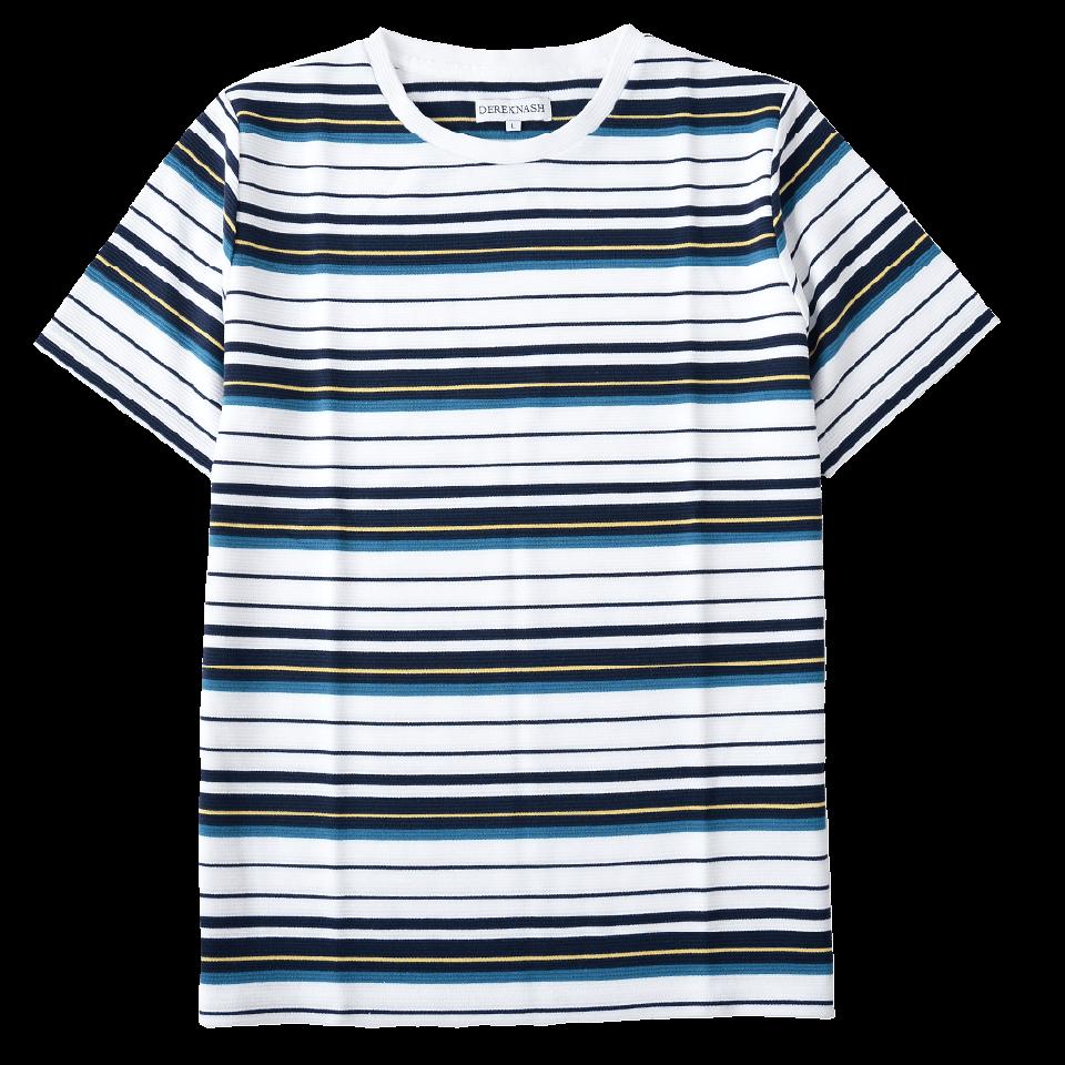 半袖Tシャツ リップルボーダー クルーT 涼感素材 ジャガード織り 485-420