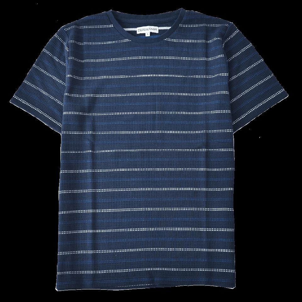 Tシャツ ワッフルボーダークルーネックT 涼感素材 ジャガード織り 485-423